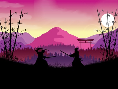 Samurai fight illustration vector illustration graphic design design