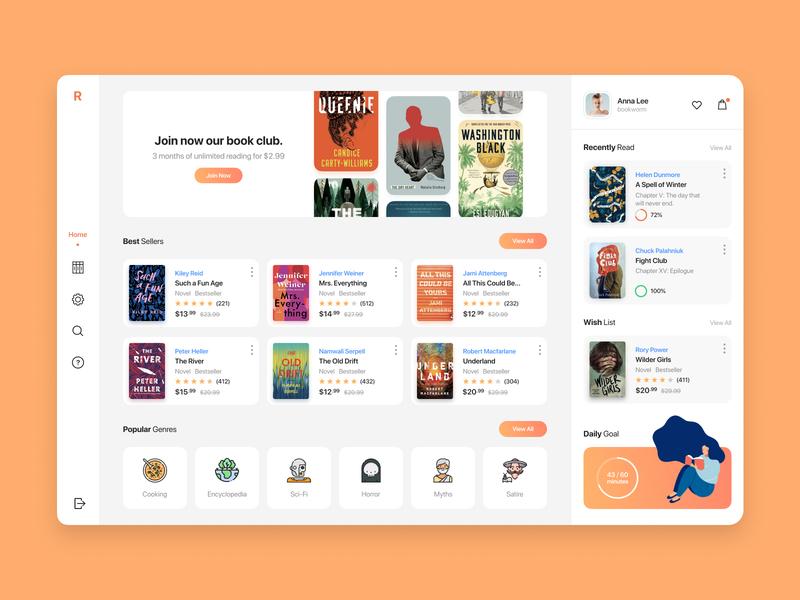 Book Club. Concept. book shop book reader reader education edtech ecommerce web interface web design web reading book user experience user interface interface interaction clean dashboard