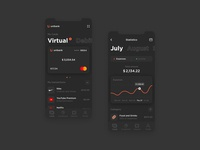 Unibank. Dark theme. card creditcard expenses income dark theme dark fintech app finances finance application finance app finance mobile banking banking mobile app app mobile application amount