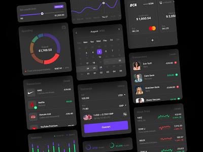 Banking UI kit. Dark Mode. dark mobile app fintech ui ux ui elements ui kit kit outcome income free freebie diagram table bank app banking app credit card transaction figma