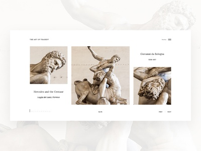 The Art Of Tragedy. Gallery. minimalism sculpture clean web ux ui design gallery