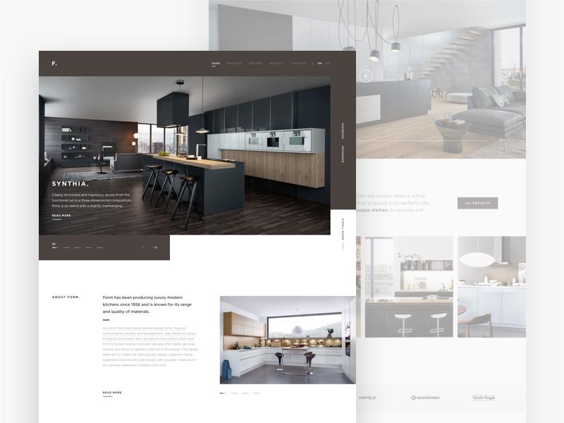 Form. The website concept. kitchens furniture ux ui landing grid website design concept clean