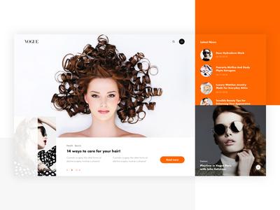 Vogue. Splash Screen. beauty fashion ux ui web design concept clean