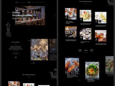 Erwin. The website concept. black concept design website grid landing ui ux seafood restaurant