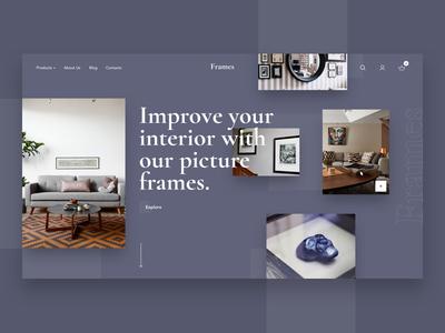 Frames. First section concept. store e-shop clean ux ui concept web design picture frames