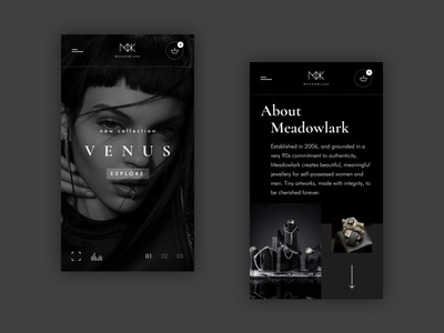 Meadowlark. Mobile version. black and white mobile minimal about us main ui ux design concept jewellery
