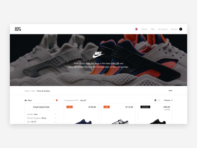 Sneaker Shop. Filter/Item card. Animation. air max 270 nike sneakers principle website web design web ux ui shop clean minimal interface interaction ecommerce animation