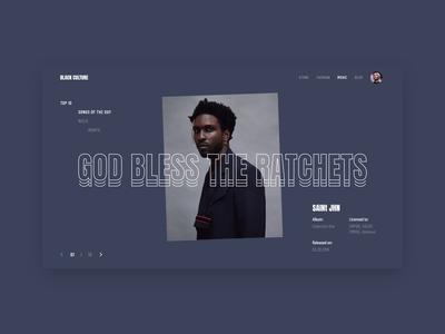 Black Culture. Slider Animation. concept animation slider rap music web design ux ui