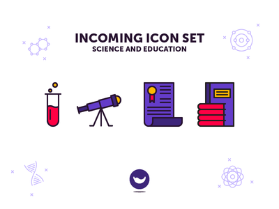 Education and Science Icon Set chemistry telescope book spicy icons set icon science education