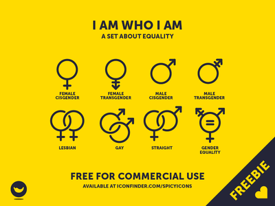 I Am Who I Am free for commercial use freebie icon set straight gay lesbian transgender cisgender female male equality gender