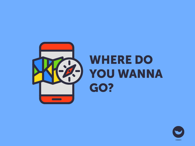 Where do you wanna go? app interface spicy icons gps navigation map compass icon mobile phone