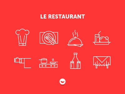 Le Restaurant outline meal chef garçon kitchen food spicy icons icon set icon restaurant