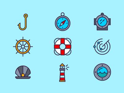 Nautical Icon Set water light house radar compass spicy icons icon set icons nautical sea