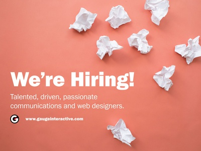 We're looking to hire a communication/web designer at Gauge Interactive!  Sound like something you're interested in?. Get more details here.