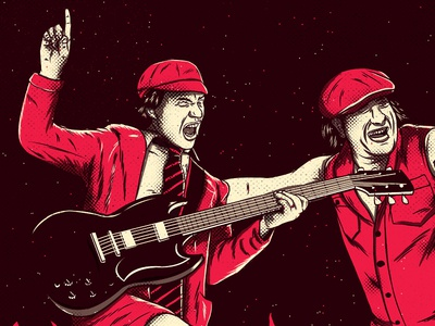 AC / DC  brian johnson angus young illustration yaconic acdc