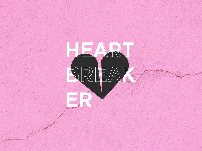 Heartbreaker </3 pink art flat clean branding brand vector typography type minimal logo lettering illustrator illustration identity icon design
