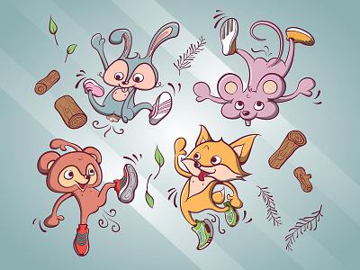 Wild Critters animal cute adidas vector illustration