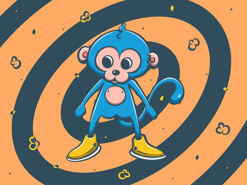 Monkey Baby design procreate adorable cute monkey animal illustration