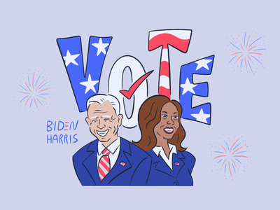 🇺🇸 ✉️ 🗳️ 📬 unite kamala harris joe biden politics procreate illustration election vote