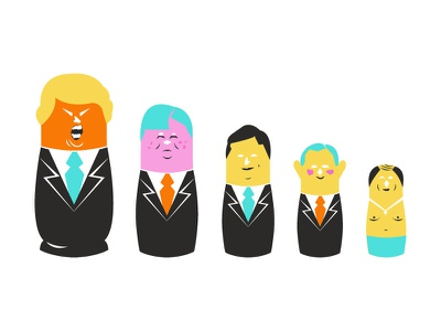 Trump Nesting Dolls spot illustration putin russia nesting dolls editorial illustration vector trump