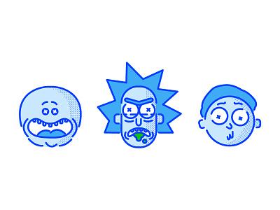 Meeseeks, Rick, & Morty halftone vector illustration spot illustration digital illustration rick and morty mr meeseeks