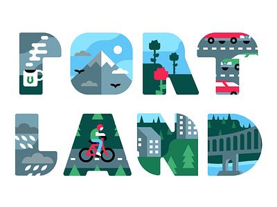 Portland lettering pnw illustration vector pdx portland