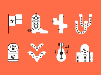 Austin icons bats music cowboy boot texas austin illustration vector