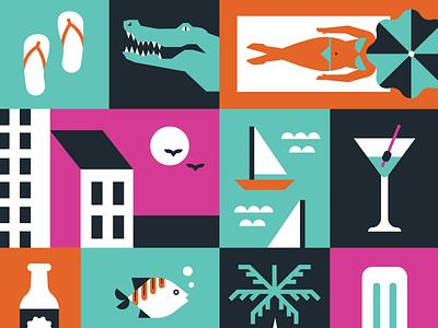 Wordcamp Miami gator fish palm tree beach sunglasses flamingo dreamhost miami wordcamp illustration vector