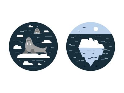 Antarctica global warming illustration vector iceberg ocean antarctica walrus