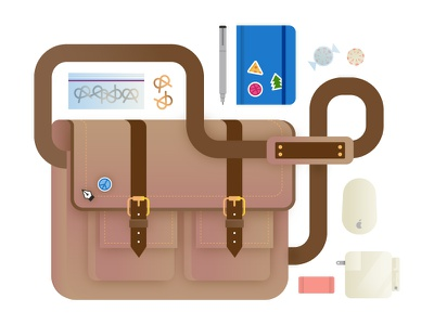 Messenger Bag designer things messenger bag illustration vector