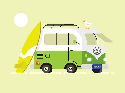 Beachin' car surfing summer van beach vector illustration