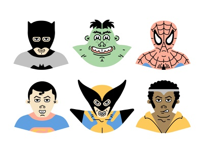 Superheroes superhero character luke cage wolverine superman spiderman batman the hulk illustration vector