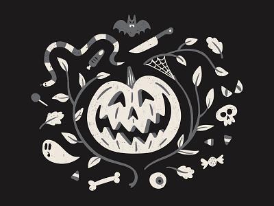 🦇🎃🍂💀 spooky autumn fall bat pumpkin illustration halloween