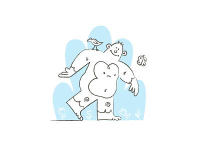 Sasquatch nature illustration doodle bigfoot sasquatch