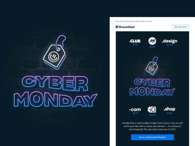 CyB3r M$nDay black friday domain dreamhost email cyber monday