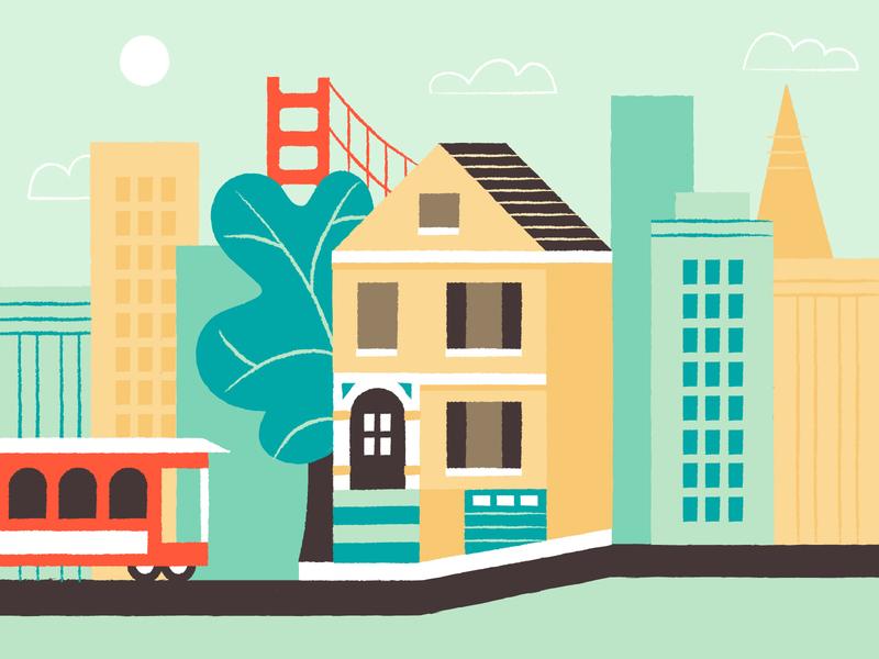 San Francisco city illustration california san francisco