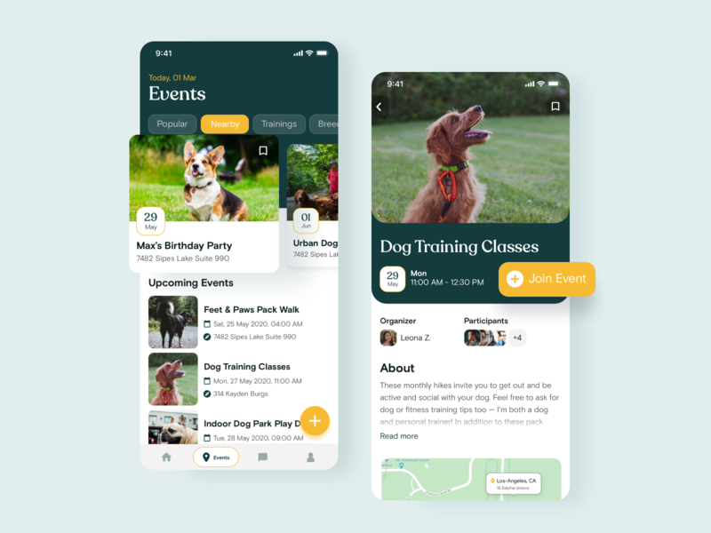 Dog Sitters App – Events