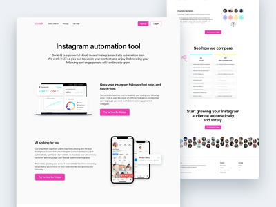 Coral - Internal page pink charts analytics followers tool insights automation proxy instagram webapp compare table landing design layout website interface clean ux ui