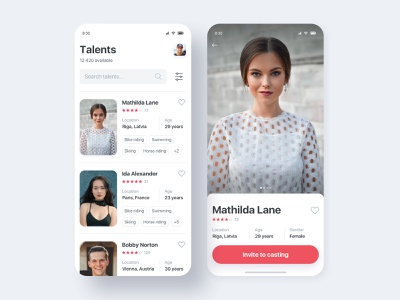 Talents Casting App ios app mobile app slider accounts tags search rating list talent profile casting ios mobile app minimal interface clean ux ui