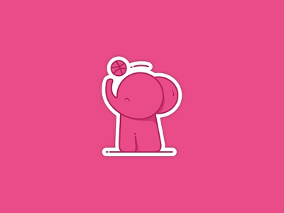 Seeing pink elephants elephant sticker playoff dribbble