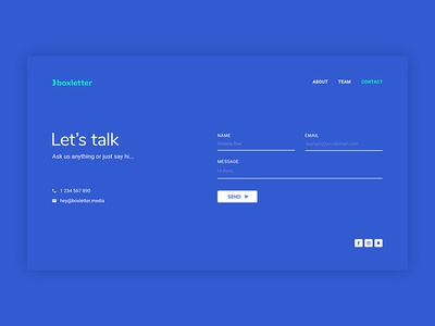 Boxletter Contact Page