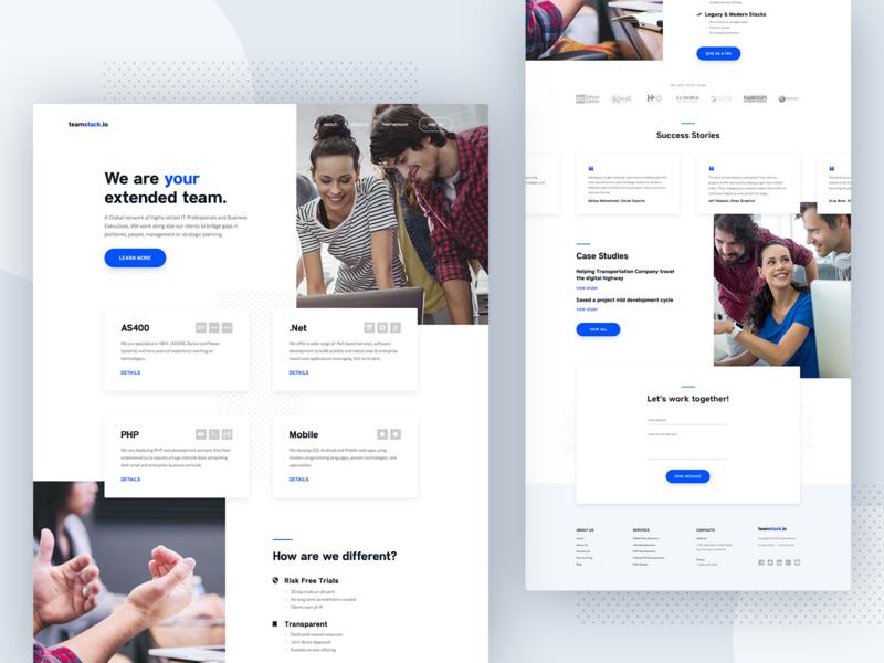 TeamStack - Homepage Design agency webdeisgn minimal website clean blue design homepage landing interface ux ui