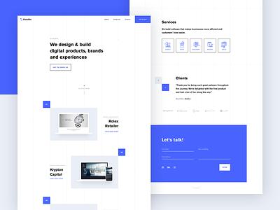Digital Agency Homepage web white minimal studio layout grid agency website landing interface clean blue ux ui