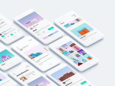 Photo Albums Sharing App iphone color white grid share photography mobile social android ios albums photos app layout design minimal clean interface ux ui