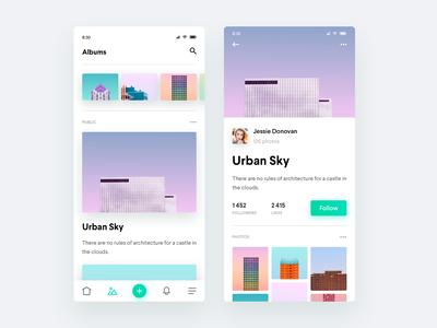 Photo Albums Sharing App browse cards profile likes followers interface minimal clean android social album photos photography ios mobile app ui  ux ui