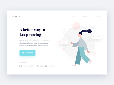 Ramove Header moving move woman teal white illustration homepage layout design landing website minimal interface clean ux ui
