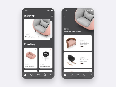 Furniture App Concept store furniture store ecommerce dark ui application mobile android ios furniture dark app design minimal interface clean ux ui