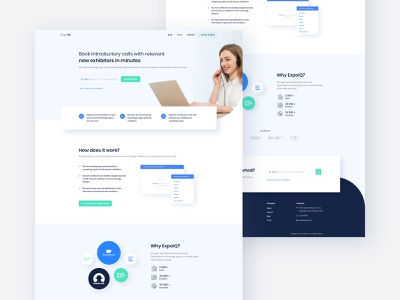ExpoIQ - Homepage Design web illustration clients logos design webapp exhibitor exhibition expo white minimal website blue interface clean layout landing ux home ui