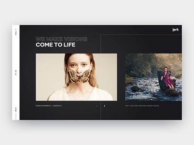 Jerk Header Concept header video photo commercials web outline black dark slider typogaphy homepage layout landing design website minimal interface clean ux ui