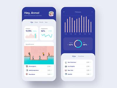 Analytics app purple table minimalist stats insights analytics tabs bars layout uidesign minimal interface clean ux ui product mobile android ios app